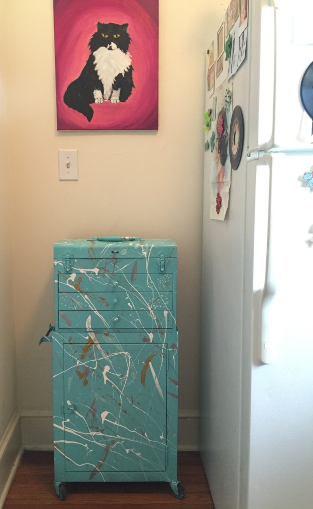Using metallics and a fresh blue made the dark corner pop!